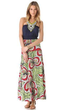 T-bags Los Angeles   Print Maxi Dress with Beaded Bib