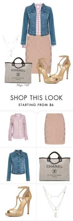 """Pink plaid blouse"" by blajeshill-1 on Polyvore featuring Velvet by Graham & Spencer, Balmain, Tommy Hilfiger, Chanel, MICHAEL Michael Kors, Charlotte Russe, skirt, Heels and plaid"