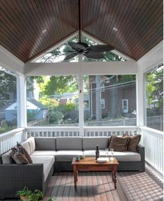 Dazzling sectional couch covers in Porch Traditional with Screened In Porch next to Sectional Couch alongside Wood Roof Ceiling and Lattice Porch Decor Screened Porch Designs, Screened In Patio, Small Patio, Deck Patio, Back Porch Designs, Screened In Porch Furniture, Sectional Couch Cover, Couch Covers, Couches