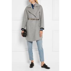 Golden Goose Deluxe Brand Belted wool-blend coat (3,270 HKD) ❤ liked on Polyvore featuring outerwear, coats, white coat, golden goose, oversized coat, white wool blend coat and white oversized coat