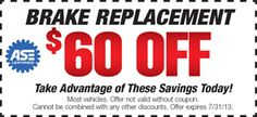 $60 Off Brake Replacement