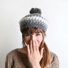 Vintage Knit Beret - Shades of Grey and White - Japanese Favorette Autumn Winter Crochet. $29.00, via Etsy.