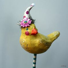 Folk Art Yellow Bird Paper Mache
