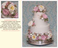 Peony & David Austin Roses Wedding Cake