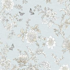 Butterfly Toile Wallpaper, Farmhouse Living Wallpaper Book by Norwall and Patton Wallcovering Embossed Wallpaper, Grey Wallpaper, Wallpaper Panels, Butterfly Wallpaper, Wallpaper Samples, Blue Wallpapers, Wallpaper Roll, Peel And Stick Wallpaper, Pattern Wallpaper
