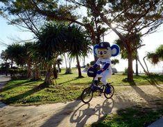ビーチを堪能し、自転車で引き上げるドアラ=沖縄県北谷町