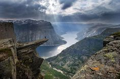 Norway's Troll's Tongue rock, an overhanging ledge 3,000 feet above the ground. Simply amazing!