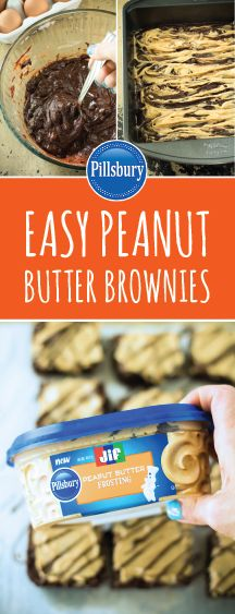Easy Peanut Butter Brownies- Indulgent, fudgy brownies with a rich peanut butter swirl. Love chocolate and peanut butter? Jif Peanut Butter, Peanut Butter Desserts, Peanut Butter Brownies, Sweet Desserts, Just Desserts, Delicious Desserts, Dessert Recipes, Yummy Food, Butter Frosting