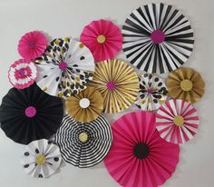 Kate Spade Inspired Black and Pink Party Rosettes *****IF YOU NEED YOUR ITEMS BEFORE 4 WEEKS AFTER PURCHASE DATE, PLEASE CONTACT ME FIRST TO CHECK