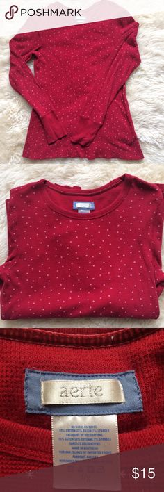 American Eagle Red Top By Aerie. 59% cotton, 39% rayon and 2% spandex. Made in Northern Mariana Islands. American Eagle Outfitters Tops