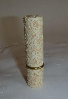 60s 70s Avon caso floral de maquillaje del lápiz labial de la vendimia flor de la MOD