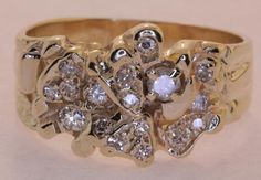 14k yellow gold diamond mens gents ring Nugget .50ct SI3 G antique 7.4g vintage.