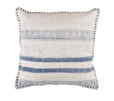 Crafted from 100-percent cotton, this modern pillow is sure to be the mood enhancing accent you've been looking for. With its fun colorings and stripe pattern, this pillow is sure to bring the earthy feel to any setting. This pillow has hidden zipper and knife edge.