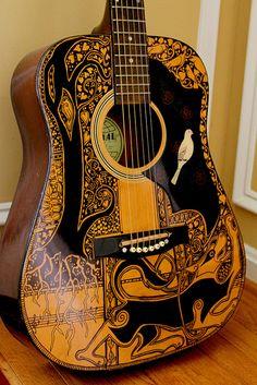 Sharpie Guitar - Zentangle Guitar by Maggie Stiefvater - 2 of 2