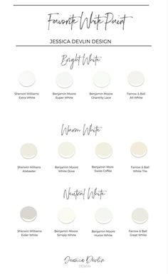 How to Choose the Perfect Interior Painting Colors — Jessica Devlin Design interior White paint colors. my favorite white paints, warm white paint, bright white paint, neutral white paint. Interior Paint Colors, Paint Colors For Home, Interior Painting, Paint Colours, Interior Plants, Interior Design, Interior Trim, Off White Paint Colors, White House Interior