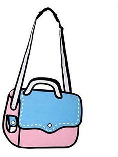 90a163d1e3 3D Jump Style 2D Drawing From Cartoon Paper Bag Messenger Bag Comic Women  Shoulder Bag (. Cartoon PaperBlue BagsMessenger ...