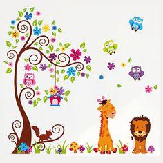 Gyerekszoba falmatricák fiúknak : Állatok színes kertje falmatrica  #bagoly…