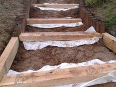 Escalier et bordures avec traverses de chemin de fer traitées ...