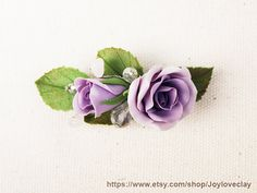 Barrette, hair clip, hair accessories ,handmade flowers , vintage style , polymer clay flower, handmade jewelry, gift for her