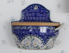 Unikat Polish Pottery Hanging Salt Box Jar With Lid & Spoon