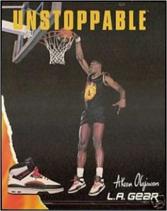 Stereotypes with basketball and shoe companies here is Akeem Olajuwon showcasing his skill for LA Gear in a 1989 advertisment.