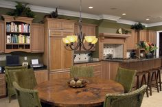 Transitional Kitchen with Maple wood cabinets
