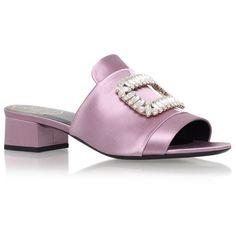 Roger Vivier Embellished Buckle Satin Mules 35 ($1,465) ❤ liked on Polyvore featuring shoes, satin shoes, mule shoes, decorating shoes, buckle shoes and satin mules