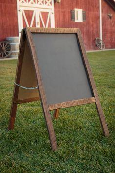 Chalkboard, Reclaimed Wood, Rustic Wood Sign, Sandwich Board. Two sided Chalkboard. Wedding Menu. Wedding Welcome. Outside store display.