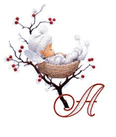 Alfabeto elfo en un nido.