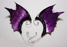 Purple Black ear wings- gothic dark fairy or dragon fin costume ear cuffs