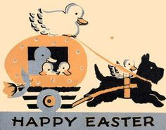 Vintage Art Deco Scottie Easter Card, ca. 1920s.