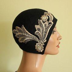 lace applique Fascinator Hats, Fascinators, Headpieces, 1920s Hats, Flapper Hat, Vintage Outfits, Vintage Hats, 20s Fashion, Church Hats
