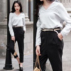 Rosa - Larmoni V Neck Casual Shirt, Larmoni Striped Crop Pants - Fall Chic