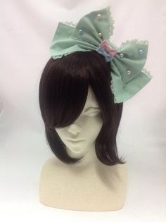 Colorful Ribbon Pearl Head Bow in Mint from Angelic Pretty - Lolita Desu