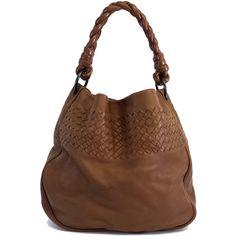 Pre-owned Bottega Veneta Brown Leather Intrecciato Bag (7 250 SEK) ❤ liked on Polyvore featuring bags, handbags, pre owned handbags, woven leather handbag, leather handbags, woven handbag and preowned handbags