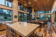 Martis Camp home plans under 3000 square feet Modern Mountain Home, Kitchen Dining Living, Lots Of Windows, Home Pictures, Big Houses, Home Photo, Home Builders, Great Rooms, Future House