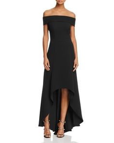 AQUA Off-the-Shoulder High/Low Gown   Bloomingdales's