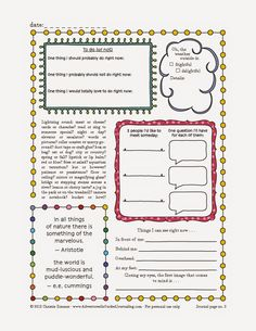 Adventures in Guided Journaling: Printable Journal Pages for grown ups and kids. Lots of prompts and such to make it easy. Print some for the kids to get them started?