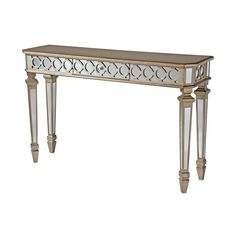 Mirroring and geometric patterns give the Mikala console table an upscale look. Including a convenient center drawer, this mirrored console is glamorous with its deluxe shaped four sided legs and aged gold metallic finish.