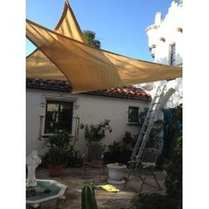 Idirectmart Triangle Sun Shade Sail 16 Feet 5 Inches - Sand