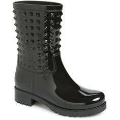 Women's Valentino 'Rockstud' Rain Boot (745 BAM) ❤ liked on Polyvore featuring shoes, boots, black, mid-calf boots, black moto boots, rubber boots, black rubber boots, black rain boots and black boots