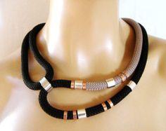 Multi color collar Tribal de cuerda declaración collar por vess65