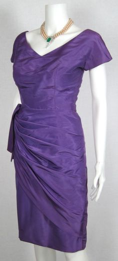 VINTAGE 1950s PURPLE TAFFETA SIDE SASH DEEP V BACK WIGGLE DRESS