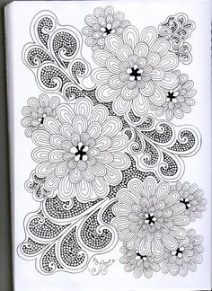 Zentangle drawing fine line fills for floewer and sylized leaves Zentangle Drawings, Doodles Zentangles, Doodle Drawings, Doodle Art, Doodle Patterns, Zentangle Patterns, Flower Patterns, Painting & Drawing, Coloring Books