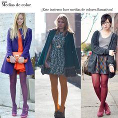 Las medias son comúnmente fabricadas de tejidos sintéticos como la lycra y el nailon, pero también se han incorporado para la época de invierno medias
