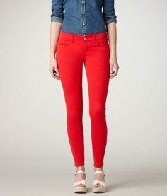 Bright red skinnies
