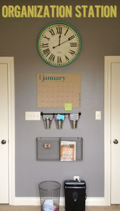 Mail organization station.  Especially love the trash can - there is NO EXCUSE for not throwing out junk mail!