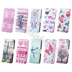 1×Various Painted Card Stand Faux Leather Wallet Flip Case Cover For Smart Phone #UnbrandedGeneric #CardPocketMoneySlotStandMagneticFlip