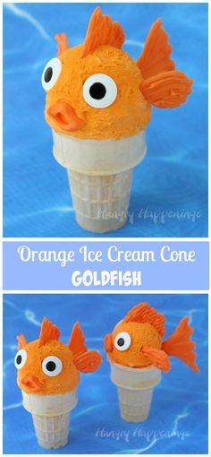 Brightly colored orange ice cream makes the perfect base for making these cute goldfish ice cream cones and you don't need a machine to make it at home. Ice Cream Treats, Ice Cream Party, Edible Crafts, Edible Food, Goldfish Party, Orange Ice Cream, Ice Cream Decorations, Cupcake Cakes, Cupcakes