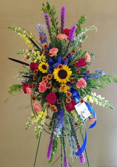 Accents Floral & Gifts Fall funeral spray funeral spray with sunflowers Grave Flowers, Cemetery Flowers, Church Flowers, Funeral Floral Arrangements, Large Flower Arrangements, Funeral Bouquet, Funeral Flowers, Funeral Caskets, Floral Design Classes